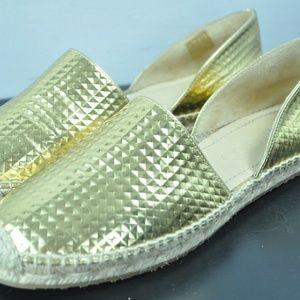Jimmy Choo Gold Leather Espadrilles US 7.5 e38
